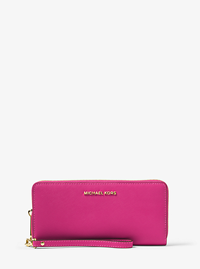 Jet Set Travel Leather Continental Wristlet by Michael Kors