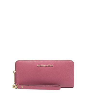 Jet Set Travel Leather Continental Wallet by Michael Kors