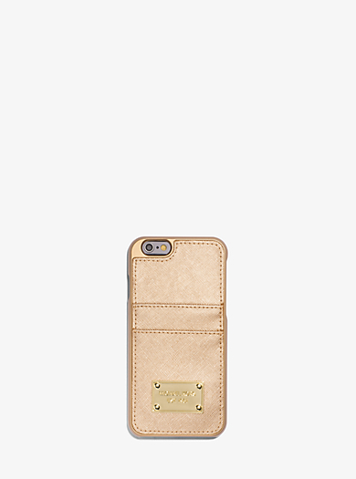 Metallic Saffiano Leather Pocket Smartphone Case by Michael Kors