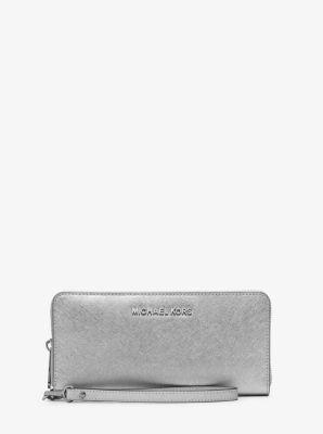 Jet Set Travel Metallic Leather Continental Wallet by Michael Kors