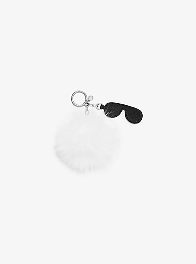 Fur and Leather Aviator Keychain  by Michael Kors