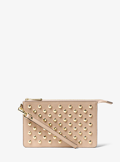 Daniela Medium Studded Leather Wristlet by Michael Kors