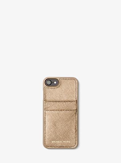 Funda de teléfono de piel saffiano metalizada para iPhone 7 by Michael Kors