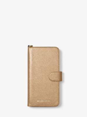 마이클 코어스 Michael Metallic Saffiano Leather Folio Case For iPhone7/8 Plus,PALE GOLD