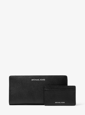 마이클 마이클 코어스 Michael Michael Kors Saffiano Leather Slim Wallet,BLACK/WHITE