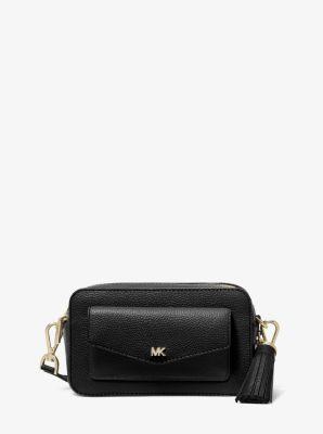 마이클 마이클 코어스 Michael Michael Kors Small Pebbled Leather Camera Bag,BLACK