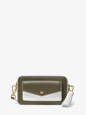 마이클 마이클 코어스 Michael Michael Kors Small Two-Tone Pebbled Leather Camera Bag,OLIVE COMBO