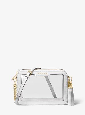 마이클 마이클 코어스 Michael Michael Kors Ginny Medium Clear and Leather Crossbody Bag,OPTIC WHITE