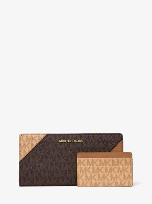 마이클 마이클 코어스 Michael Michael Kors Large Two-Tone Logo and Leather Slim Wallet,BRN/BTRN/ACR