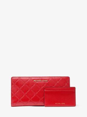 마이클 마이클 코어스 Michael Michael Kors Large Chain-Embossed Leather Slim Wallet