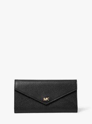 마이클 마이클 코어스 Michael Michael Kors Large Pebbled Leather Envelope Wallet,BLACK