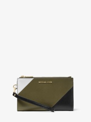 마이클 마이클 코어스 Michael Michael Kors Adele Tri-Color Leather Smartphone Wallet,OLIVE COMBO