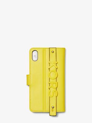 마이클 마이클 코어스 아이폰 X 플러스 장지갑 Michael Michael Kors Embellished Leather Folio Case For iPhone X Plus,SUNSHINE