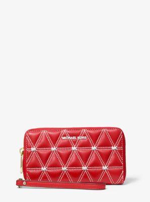 마이클 마이클 코어스 Michael Michael Kors Large Quilted Leather Smartphone Wristlet,BRIGHT RED