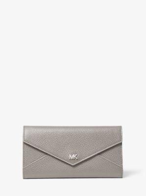 마이클 마이클 코어스 Michael Michael Kors Large Two-Tone Pebbled Leather Envelope Wallet,PRGRY/ALUMIN