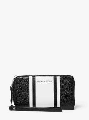 마이클 마이클 코어스 Michael Michael Kors Large Striped Pebbled Leather Smartphone Wristlet,BLACK/WHITE