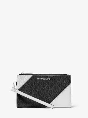 마이클 마이클 코어스 Michael Michael Kors Adele Two-Tone Logo and Leather Smartphone Wallet,BLACK/WHITE