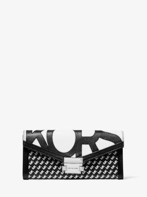 마이클 마이클 코어스 Michael Michael Kors Whitney Large Graphic Logo Chain Wallet,BLACK/WHITE