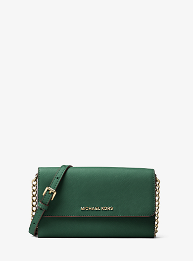 Jet Set Travel Saffiano Leather Smartphone Crossbody by Michael Kors