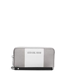 Jet Set Travel Tri-Color Saffiano Leather Phone Wristlet