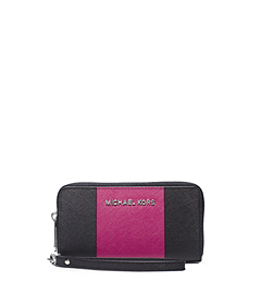 Jet Set Travel Stripe Saffiano Leather Phone Wristlet