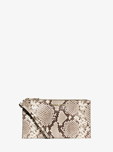 Bedford Large Embossed-Leather Wristlet by Michael Kors