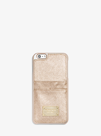 Metallic Leather Pocket Smartphone Case by Michael Kors