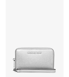 Jet Set Travel Large Metallic Leather Smartphone Wristlet by Michael Kors