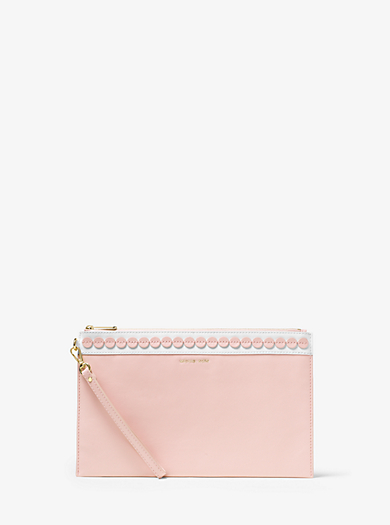 Analise Extra-Large Appliqué Leather Clutch  by Michael Kors