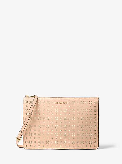 Ava Large Perforated-Leather Convertible Clutch by Michael Kors