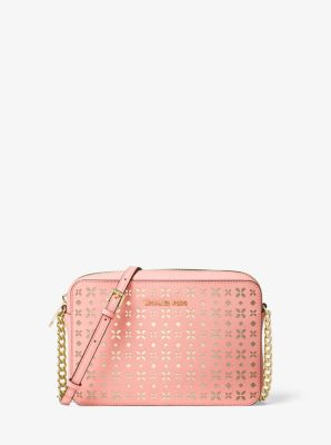Jet Set Travel Large Perforated-Leather Crossbody by Michael Kors