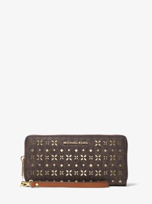 Jet Set Travel Perforated Logo Continental Wallet by Michael Kors