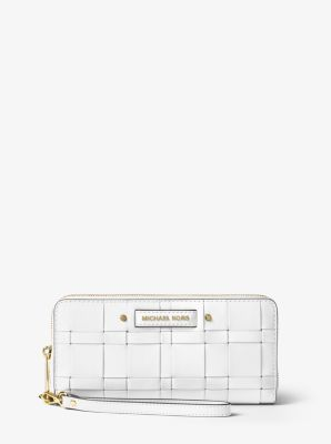 Vivian Woven Leather Continental Wallet by Michael Kors