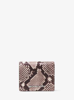 Jet Set Travel Embossed-Leather Card Holder by Michael Kors