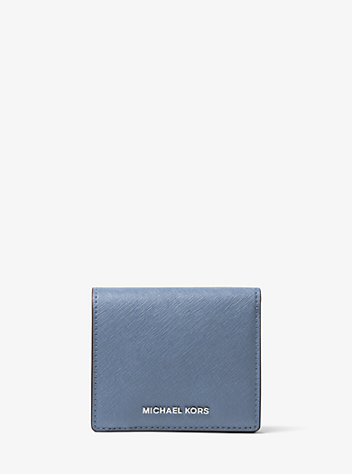 Jet Set Travel Saffiano Leather Card Holder by Michael Kors
