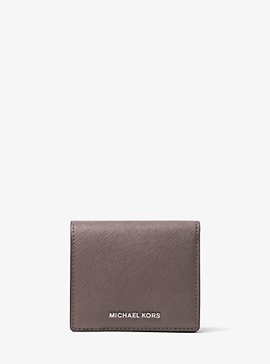 Jet Set Travel Saffiano Leather Card Holder by Michael Kors