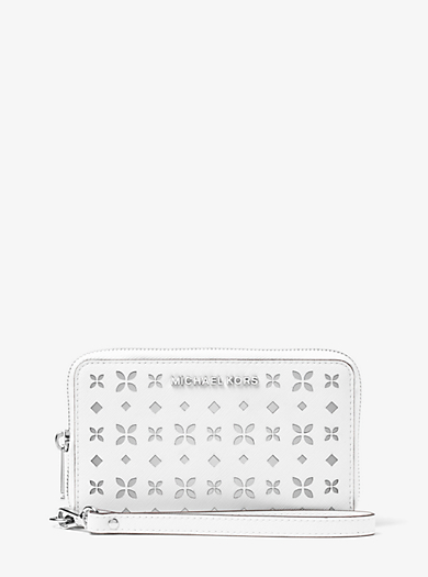 Jet Set Travel Large Perforated-Leather Phone Case by Michael Kors