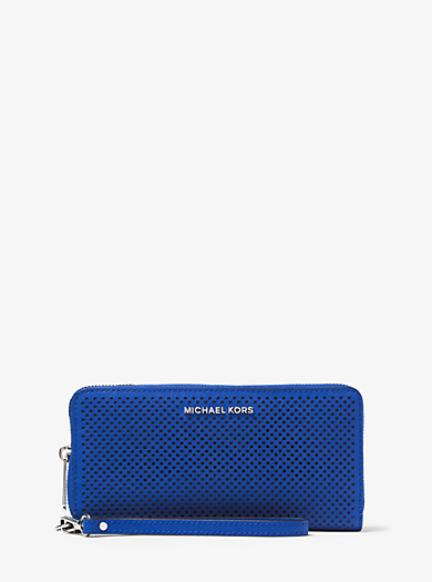 Jet Set Travel Perforated-Leather Continental Wristlet by Michael Kors