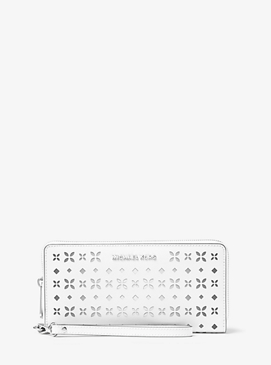 Jet Set Travel Perforated-Leather Continental Wallet by Michael Kors
