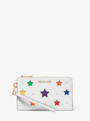 마이클 마이클 코어스 Michael Michael Kors Adele Star-Cutout Pebbled Leather Smartphone Wallet