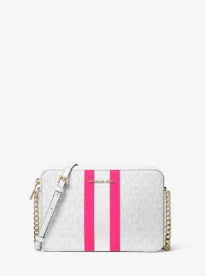 마이클 마이클 코어스 Michael Michael Kors Jet Set Large Logo Stripe Crossbody Bag