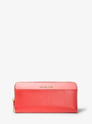 마이클 마이클 코어스 Michael Michael Kors Tri-Color Crossgrain Leather Continental Wallet,GRAPFRUT MLT