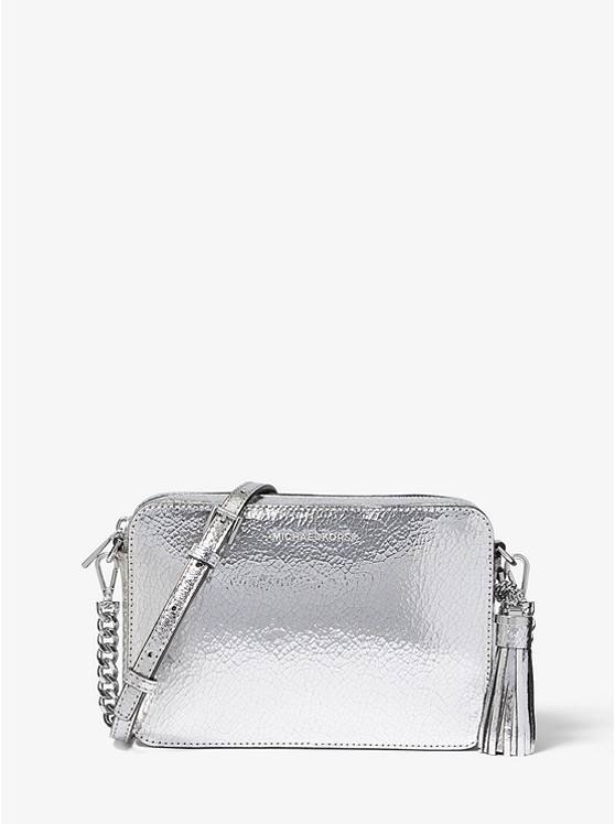 Ginny Medium Crackled Metallic Leather Crossbody Bag | Michael Kors