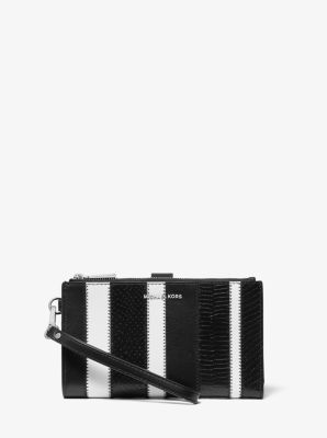 마이클 마이클 코어스 Michael Michael Kors Adele Striped Leather Smartphone Wallet,BLACK/WHITE
