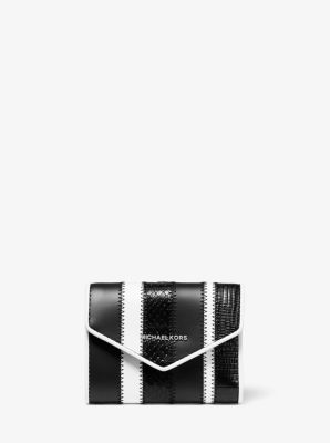 마이클 마이클 코어스 Michael Michael Kors Small Striped Leather Envelope Wallet,BLACK/WHITE