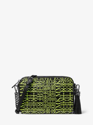 마이클 마이클 코어스 Michael Michael Kors Ginny Medium Newsprint Logo Leather Crossbody Bag