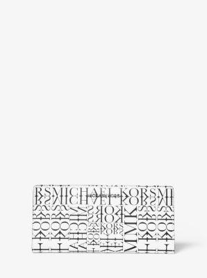 마이클 마이클 코어스 Michael Michael Kors Large Newsprint Logo Leather Slim Wallet