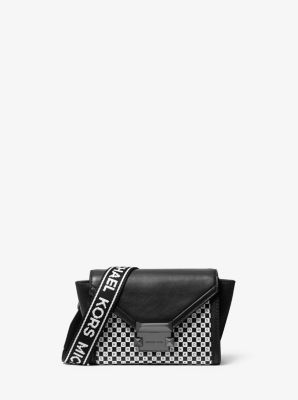 마이클 마이클 코어스 위트니백 미니, 체커보드 로고 - 블랙 화이트 Michael Michael Kors Whitney Mini Checkerboard Logo Leather Convertible Crossbody Bag,BLACK/WHITE