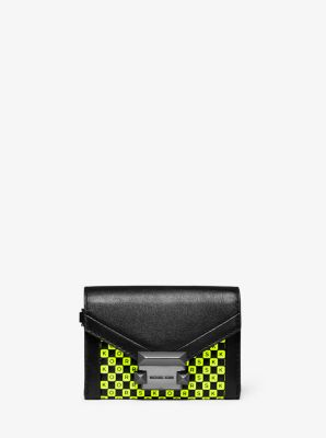 마이클 마이클 코어스 Michael Michael Kors Whitney Small Checkerboard Logo Leather Chain Wallet,BLACK/NEON YELLOW