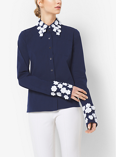 Floral-Embroidered Stretch Cotton-Poplin Shirt by Michael Kors